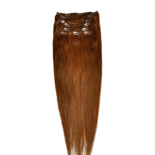 """60cm 8 pcs Remy HUMAN HAIR CLIP IN EXTENSION #08,34"""" wide 120g"""