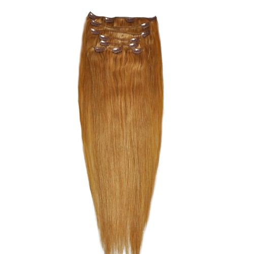"""60cm 8 pcs Remy HUMAN HAIR CLIP IN EXTENSION #16,34"""" wide 120g"""