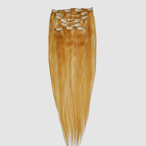 """60cm 8 pcs Remy HUMAN HAIR CLIP IN EXTENSION #27/613,34""""wide 120g"""