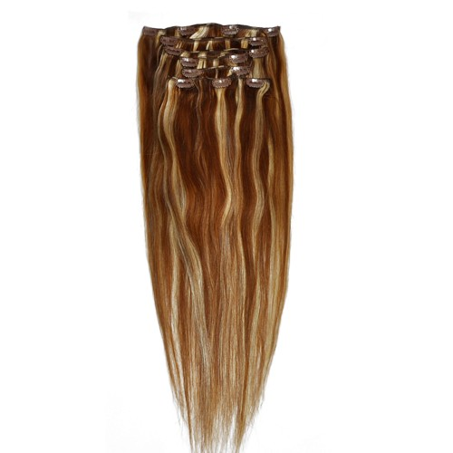 """60cm 8 pcs Remy HUMAN HAIR CLIP IN EXTENSION #06/613,34""""wide 120g"""