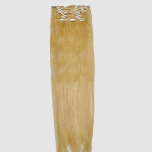 "75cm 8 pcs Remy HUMAN HAIR CLIP IN EXTENSION #613,34"" wide 120g"