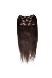 Deluxe 50cm Indian Remy Full Head Human Hair Clip In Extensions #02,9pcs
