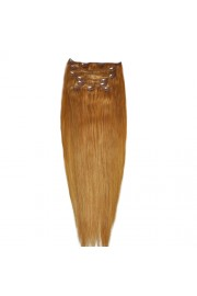 """65cm 8 pcs Remy HUMAN HAIR CLIP IN EXTENSION #16,34"""" wide 120g"""