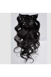 50cm 7pcs Remy BODYWAVY HUMAN HAIR CLIP IN EXTENSION #1B, 70g