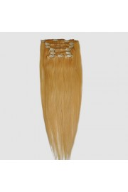 """65cm 8 pcs Remy HUMAN HAIR CLIP IN EXTENSION #24,34"""" wide 120g"""