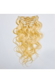 50cm 7pcs Remy BODYWAVY HUMAN HAIR CLIP IN EXTENSION #27/613, 70g