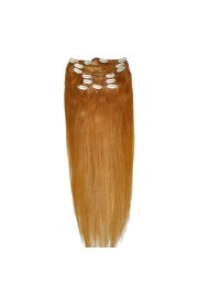 """65cm 8 pcs Remy HUMAN HAIR CLIP IN EXTENSION #27,34"""" wide 120g"""