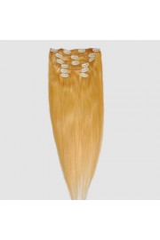 "55cm 7 pcs remy HUMAN HAIR CLIP IN EXTENSION #27,31""wide 80g"