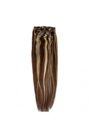 """65cm 8 pcs Remy HUMAN HAIR CLIP IN EXTENSION #04/613,34"""" wide 120g"""