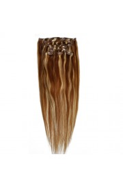 "65cm 8 pcs Remy HUMAN HAIR CLIP IN EXTENSION #6/613,34"" wide 120g"