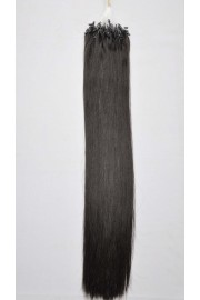 Double Drawn Remy Human Hair Extensions 100s 55cm Loop/Ring #1B, 100g