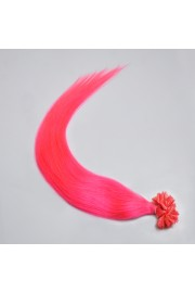 100S 50cm Nail Tip REMY HUMAN HAIR EXTENSIONS #Hot Pink,50g