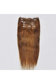 Full Head 45cm Indian Remy Human Hair Clip In Extensions #06,8pcs