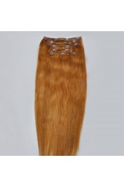 Full Head 40cm Indian Remy Human Hair Clip In Extensions #12,8pcs