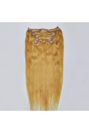 Full Head 45cm Indian Remy Human Hair Clip In Extensions #16,8pcs