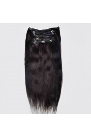 Full Head 45cm Indian Remy Human Hair Clip In Extensions #1B,8pcs