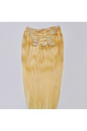 Full Head 45cm Indian Remy Human Hair Clip In Extensions #22,8pcs