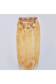 Deluxe 45cm Indian Remy Full Head Human Hair Clip In Extensions #18/613,9pcs