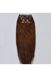 Deluxe 45cm Indian Remy Full Head Human Hair Clip In Extensions #04,9pcs