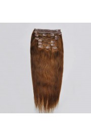 Deluxe 45cm Indian Remy Full Head Human Hair Clip In Extensions #06,9pcs