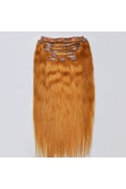 Deluxe 45cm Indian Remy Full Head Human Hair Clip In Extensions #12,9pcs