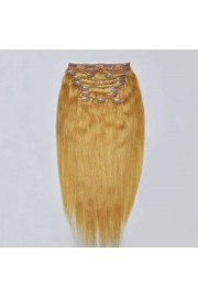 Deluxe 60cm Indian Remy Full Head Human Hair Clip In Extensions #16,9pcs