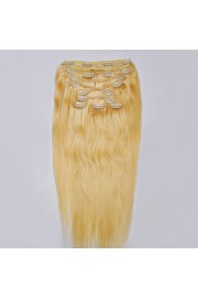 Deluxe 55cm Indian Remy Full Head Human Hair Clip In Extensions #22,9pcs